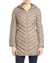 MICHAEL Michael Kors | Brown Hooded Puffer Coat | Lyst