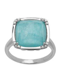Lord & Taylor | Blue Sterling Silver Amazonite And Diamond Ring | Lyst