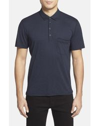 7 For All Mankind | Blue Trim Fit Raw Edge Polo for Men | Lyst