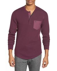 Original Penguin | Purple Waffle Knit Pocket Henley for Men | Lyst