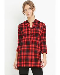 Forever 21 | Red Longline Hooded Plaid Top | Lyst