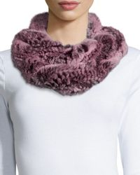 La Fiorentina - Pink Rabbit Fur Infinity Muffler Scarf - Lyst