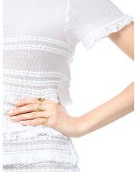 Leivan Kash   Metallic Gold Pearl Feather Open Ring   Lyst