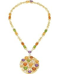 BVLGARI | Mediterranean Eden 18kt Yellow-gold Necklace With Peridots, Citrine Quartzes, Amethysts, Diamonds And Pavé Diamonds | Lyst