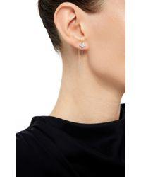 Sara Weinstock | Metallic White Diamond Cluster Stud Chain Earrings | Lyst