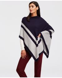 Ann Taylor | Blue Colorblock Luxe Poncho | Lyst