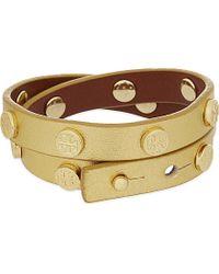 Tory Burch | Metallic Leather Double Wrap Bracelet | Lyst