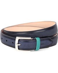 Paul Smith | Blue Contrast-Keeper Leather Belt - For Men for Men | Lyst