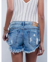 Free People - Blue Bandit Denim Cutoffs - Lyst