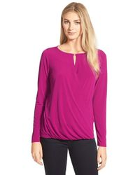 Ivanka Trump | Purple Wrap Front Keyhole Top | Lyst