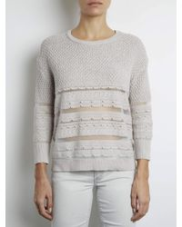 INHABIT | Gray Textured Pullover With Sheer Stripes | Lyst