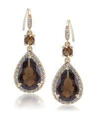 Carolee | Brown Desert Oasis Goldtone Teardrop Stone Earrings | Lyst