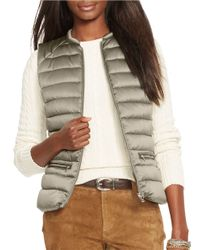 Lauren by Ralph Lauren | Petite Metallic Satin Down Vest | Lyst