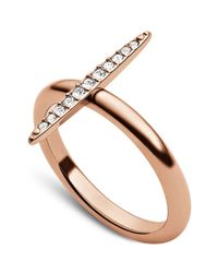 Michael Kors | Metallic Rose Goldtone Crystal Pavè Matchstick Ring | Lyst