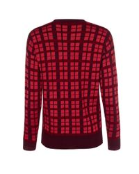 Paul Smith - Women'S Red Checked Wool-Blend Sweater - Lyst