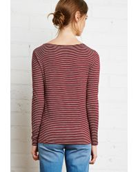 Forever 21 - Purple Boat Neck Micro-striped Tee - Lyst