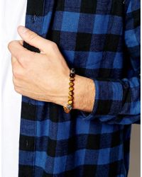 Simon Carter - Brown Tigers Eye Beaded Bracelet Exclusive To Asos for Men - Lyst