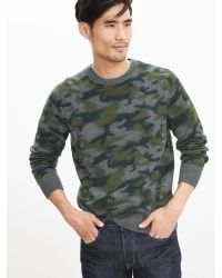 Banana Republic | Green Camo Crew Sweater Pullover | Lyst