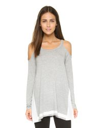 Ella Moss | Gray Mali Cold Shoulder Tee - Heather Grey | Lyst