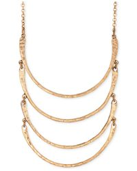 Lucky Brand | Metallic Gold-tone Curved Bar Multi-row Necklace | Lyst
