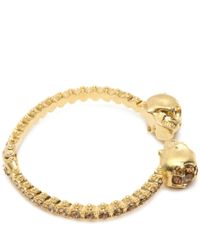 Alexander McQueen | Metallic Twin Skull Faux Pearl Bangle | Lyst