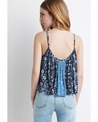 Forever 21 - Blue Striped Floral Print Cami - Lyst
