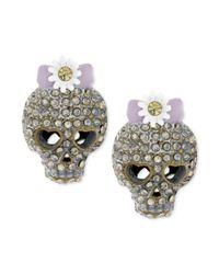 Betsey Johnson - Purple Brasstone Skull Stud Earrings - Lyst