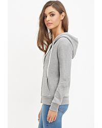 Forever 21 | Gray Zip-up Drawstring Hoodie | Lyst