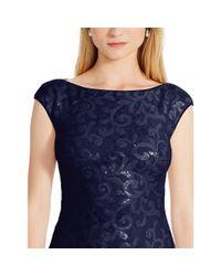Ralph Lauren | Blue Sequined-lace Cutout Gown | Lyst