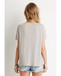 Forever 21 - Gray Drop-sleeve Ribbed Tee - Lyst