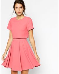 ASOS - Red Crepe Crop Skater Dress - Lyst