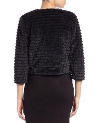 Calvin Klein - Black Cropped Faux-fur Jacket - Lyst