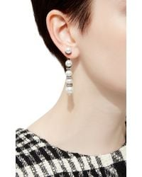 Oscar de la Renta - White Pearl Pave Backdrop Earrings - Lyst