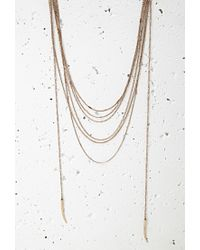 Forever 21 | Metallic Tooth Pendant Layered Necklace | Lyst