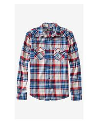 Express - Blue Flannel Dusty Plaid Shirt for Men - Lyst