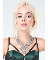 Bebe - Metallic Crystal Filigree Necklace - Lyst