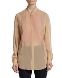 3.1 Phillip Lim - Natural Bib Collar Peek-a-boo Blouse - Lyst