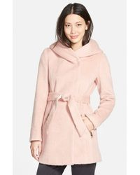 Guess - Pink Hooded Shawl Collar Wrap Coat - Lyst
