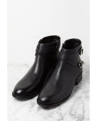 Forever 21 - Black Chained Strappy Faux Leather Booties You've Been Added To The Waitlist - Lyst