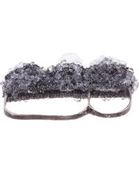 Arielle De Pinto - Gray Ssense Exclusive Charcoal Crystal Knuckleduster Ring - Lyst