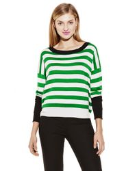 Vince Camuto - Green Engineered Stripe Sweater - Lyst