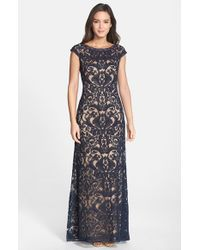 Tadashi Shoji | Blue Embroidered Tulle Cap Sleeve Gown | Lyst
