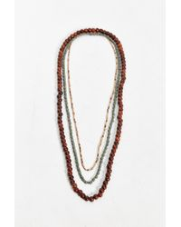 Urban Outfitters - Brown Long Wood Bead Necklace Set for Men - Lyst