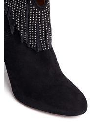 Aquazzura - Black 'tina Studs' Suede Fringe Ankle Boots - Lyst