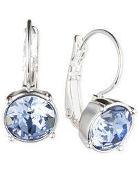 Nine West - Blue Silver-tone Medium Drop Earrings - Lyst