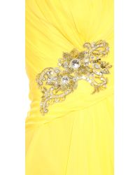 Notte by Marchesa | Yellow Strapless Draped Chiffon Gown | Lyst