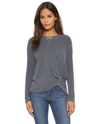 Stateside | Gray Twist Front Long Sleeve Tee | Lyst