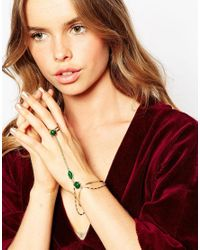 ASOS - Green 70's Stone Hand Harness - Lyst
