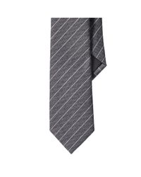Ralph Lauren Black Label - Gray Striped Wool-silk Narrow Tie for Men - Lyst