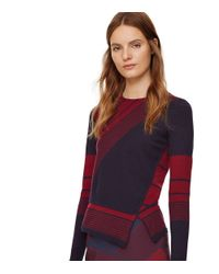 Tory Burch | Multicolor Wool Asymmetrical Peplum Sweater | Lyst